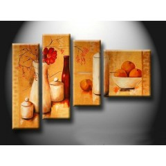Floral Hand-painted Oil Painting with Stretched Frame - Set of 4