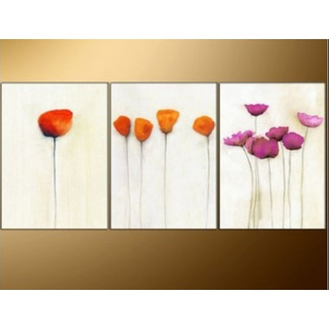FloralHand-painted Oil Painting with Stretched Frame - Set of 3