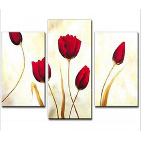 Hand-painted FloralOil Painting with Stretched Frame - Set of 3
