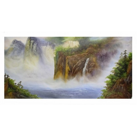 "Hand-painted Landscape Oil Painting with Stretched Frame - 20"" x 40"""