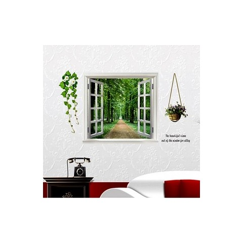Windows and tree wall stickers
