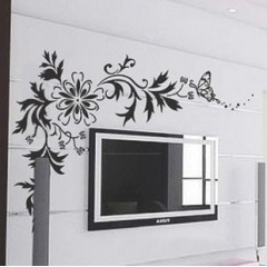 Flowers TV setting wall stickers