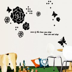 Butterfly and rose wall stickers