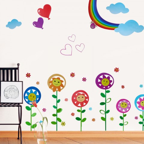 Sunflowers with smiling face wall stickers