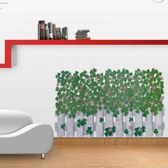 Flowers and fench wall stickers