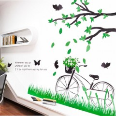 Bike and butterfly wall sticers