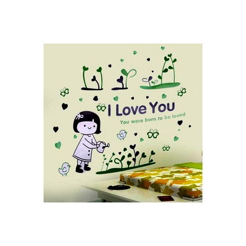 Watering the flowers girl wall stickers