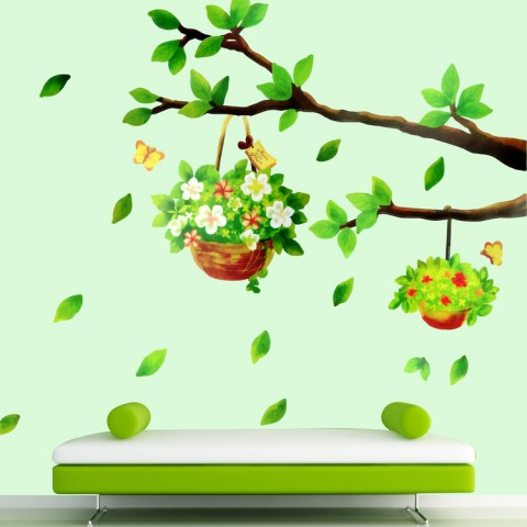 Branch and basketes wall stickers