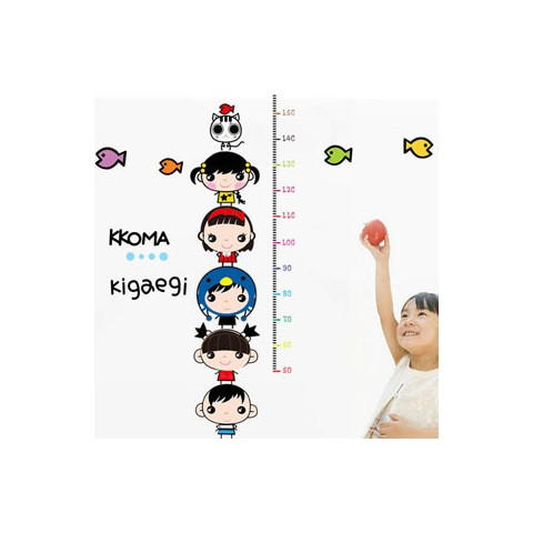 Cartoon baby height charts wall stickers