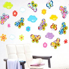 Flowers and butterfly wall stickers