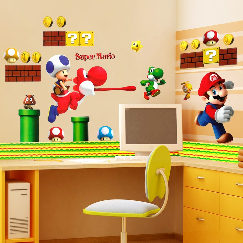 Mario stickers for walls home boys room super mario wall stickers decals bros build scene for - Mario wall clings ...