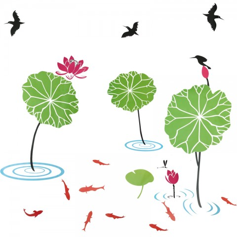 Lotus pond wall stickers