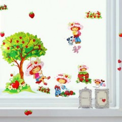 Strawberry girl wall stickers