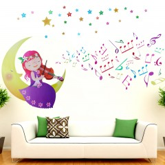 Moon girl wall stickers