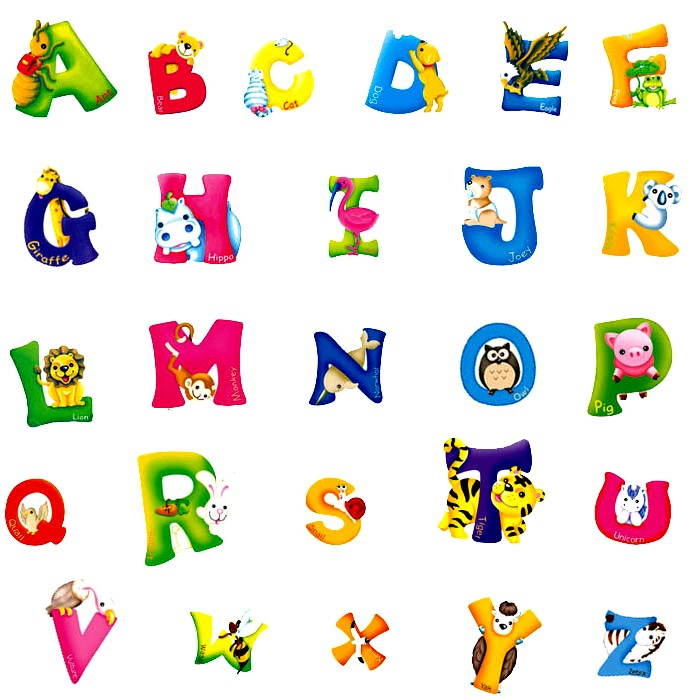 Cartoon letters wall stickers wall art ideas for Kids name letters