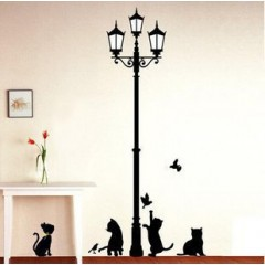 Cats and street lamp wall stickers