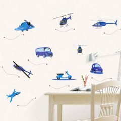 Helicoptr and car wall stickers