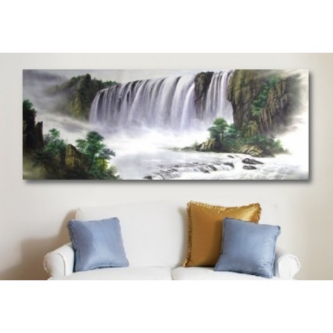 "Hand-painted Landscape Oil Painting with Stretched Frame - 47"" x 24"""