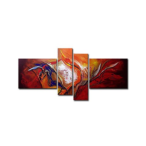 Hand-painted Oil Painting Abstract Oversized Wide - Set of 4