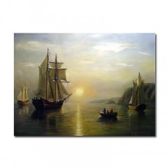 "Hand-painted Oil Painting A Sunset Calm in the Bay of Fundy by Bradford William with Stretched Frame - 24"" x 36"""