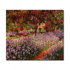 "Hand-painted Oil Painting The Garden by Claude Monet with Stretched Frame - 24"" x 24"""