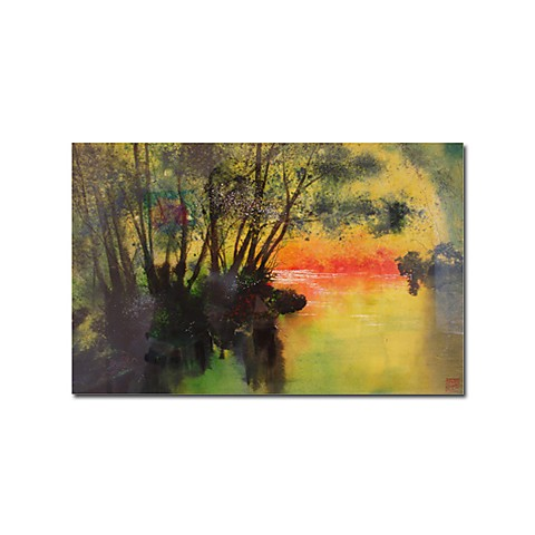 "Hand-painted Landscape Oil Painting with Stretched Frame - 24"" x 36"""