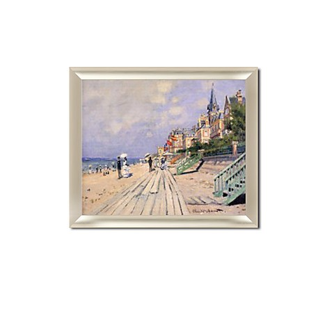 "Framed Hand-painted Oil Painting The Boardwalk at Trouville by Claude Monet with Stretched Frame - 20"" x 24"""
