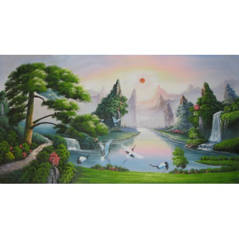 "Landscape Hand-painted Oil Painting with Stretched Frame - 47"" x 24"""