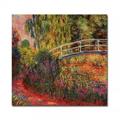 "Hand-painted Oil Painting The Japanese Bridge by Claude Monet with Stretched Frame - 24"" x 24"""