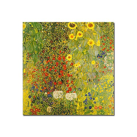 "Hand-painted Oil Painting by Gustav Klimt with Stretched Frame - 24"" x 24"""