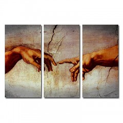 Hand-painted Famous Oil Painting with Stretched Frame by Michelangelo - Set of 3