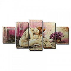 Hand-painted People Oil Painting with Stretched Frame - Set of 5