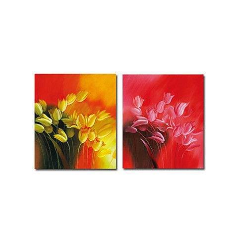 Hand-painted Floral Oil Painting with Stretched Frame - Set of 2