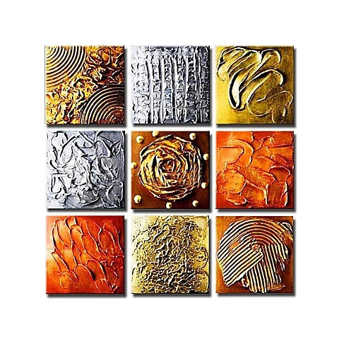 Hand-painted Abstract Oil Painting with Stretched Frame - Set of 9