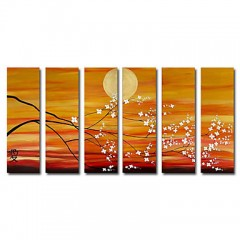 Hand-painted Oil Painting Landscape Oversized Wide - Set of 6
