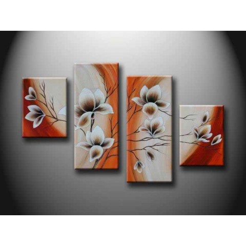 Flower Hand-painted Oil Painting with Stretched Frame - Set of 4