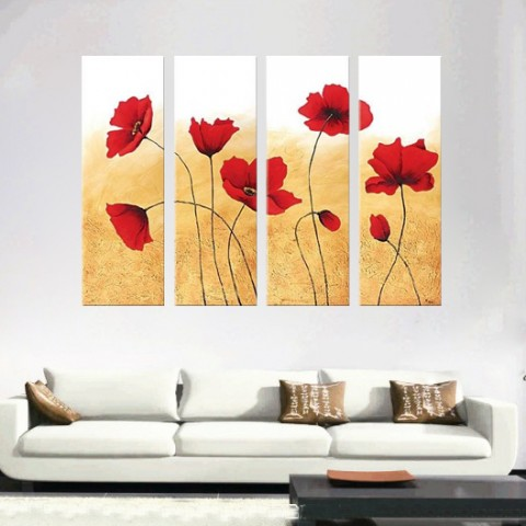 Hand-painted Flower Oil Painting with Stretched Frame - Set of 4
