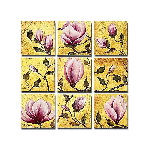 Hand-painted Floral Oil Painting with Stretched Frame - Set of 9