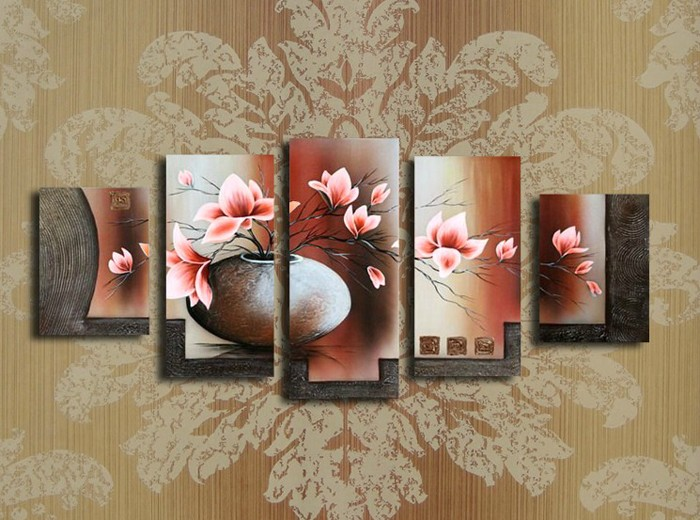 /172-187/hand-painted-flower-oil-painting-with-stretched-frame-set-of-5.jpg