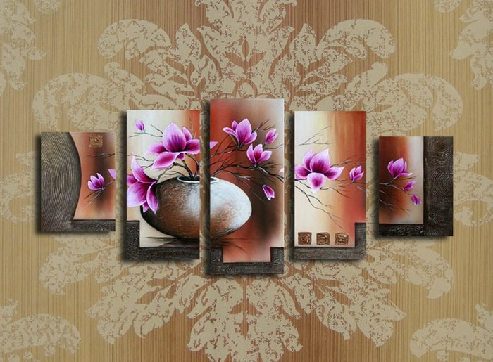 /172-189/hand-painted-flower-oil-painting-with-stretched-frame-set-of-5.jpg