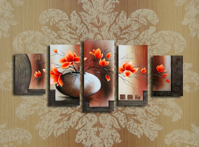 /172-190/hand-painted-flower-oil-painting-with-stretched-frame-set-of-5.jpg