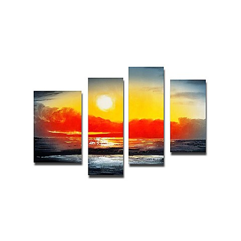 Hand-painted Landscape Oil Painting with Stretched Frame - Set of 4