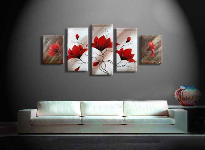 /174-198/hand-painted-flower-oil-painting-with-stretched-frame-set-of-5.jpg