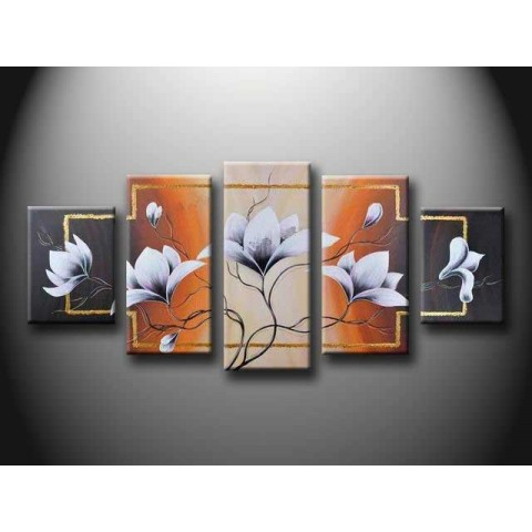 Flower Hand-painted Oil Painting with Stretched Frame - Set of 5