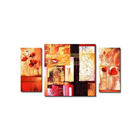 Hand-painted Abstract Oil Painting with Stretched Frame Set of 3