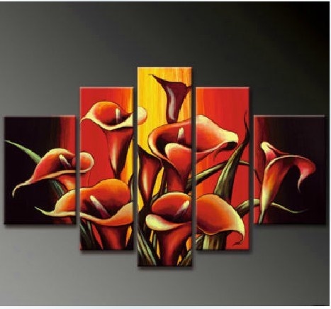 /185-211/hand-painted-flower-oil-painting-with-stretched-frame-set-of-5.jpg