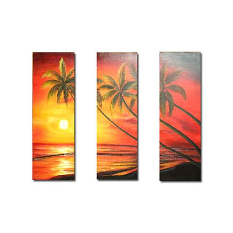 Hand painted oil painting landscape oversized square set for Set of three canvas paintings