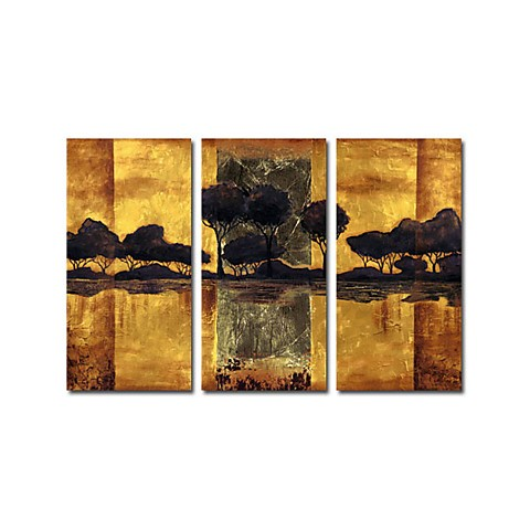Hand-painted Oil Painting Landscape Oversized Wide - Set of 3