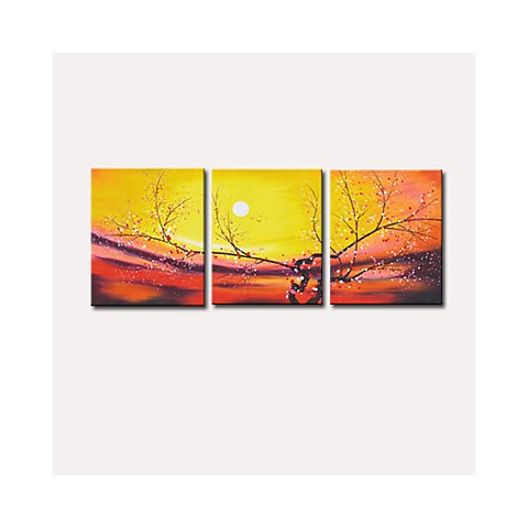 Hand-painted Flora Oil Painting with Stretched Frame - Set of 3