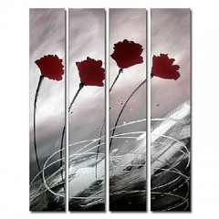 Hand-painted Oil Painting Abstract Oversized Tall Set of 4